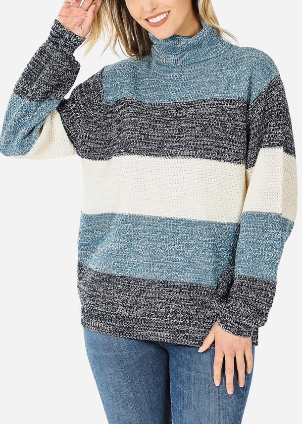 Blue Long Sleeve Striped Sweater