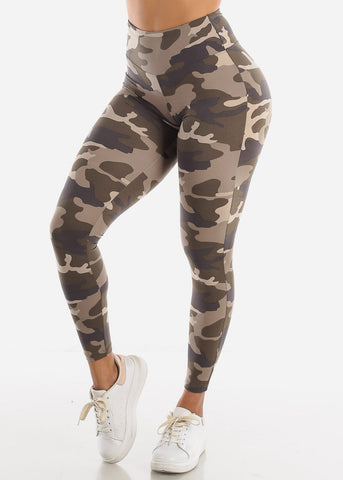 Image of Activewear High Waisted Camouflage Leggings