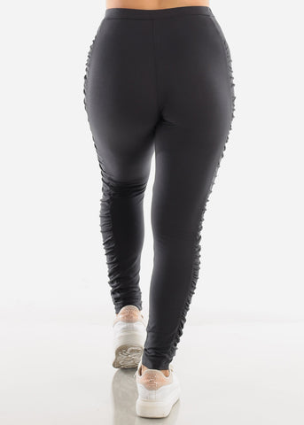 Ruched Sides Dark Grey Leggings