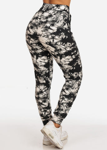 Casual Tie Dye High Waisted Work Out Stretchy Jogging Grey Jogger Pants