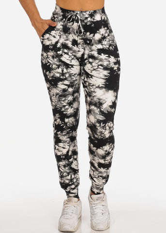 Image of Casual Tie Dye High Waisted Work Out Stretchy Jogging Grey Jogger Pants