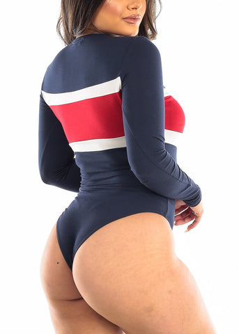 Image of Colorblock Navy Long Sleeve Bodysuit