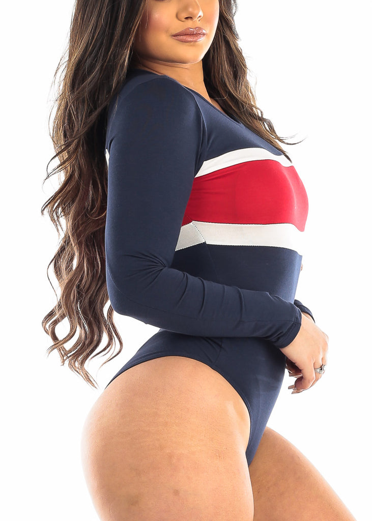 Colorblock Navy Long Sleeve Bodysuit