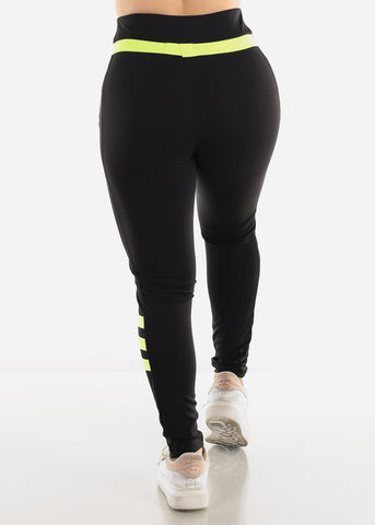 Black & Green Activewear Leggings