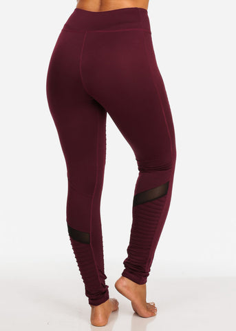 Activewear Burgundy Moto Design Sheer Mesh  High Rise Leggings