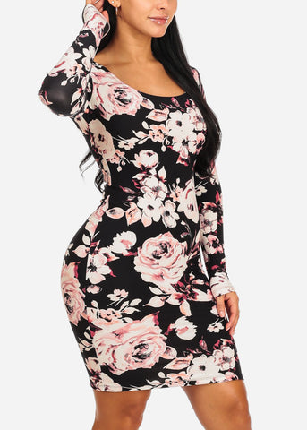 Image of Black Floral Knee Length Dress