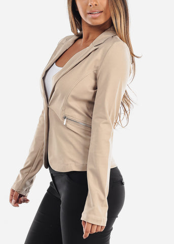 Office Business Wear Long Sleeve Classic 1 Button Khaki Blazer