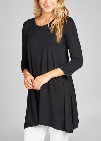 Casual 3/4 Sleeve Round Neckline Stretchy Black Tunic Top
