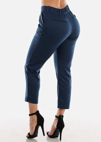 Pull On Navy Cropped Pants