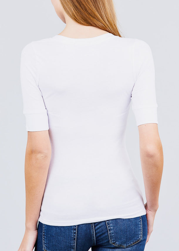 White Elbow Sleeve V Neck Top