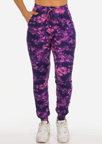 Image of Casual Tie Dye High Waisted Work Out Stretchy Jogging Purple Jogger Pants