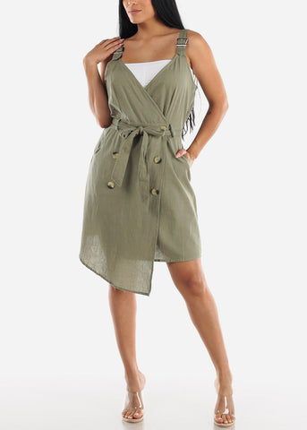 Image of Sleeveless Sage Overall Dress