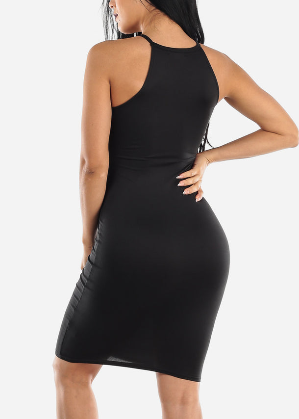 Sleeveless Casual Black Bodycon Dress