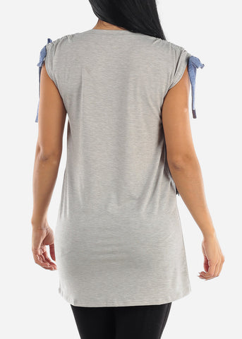 Casual Strappy Grey Tunic Top