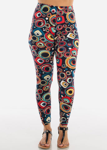 Orange Multicolor Circle Print Leggings L135ORG