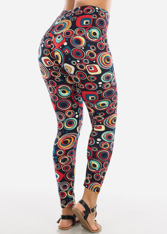 Image of Orange Multicolor Circle Print Leggings L135ORG