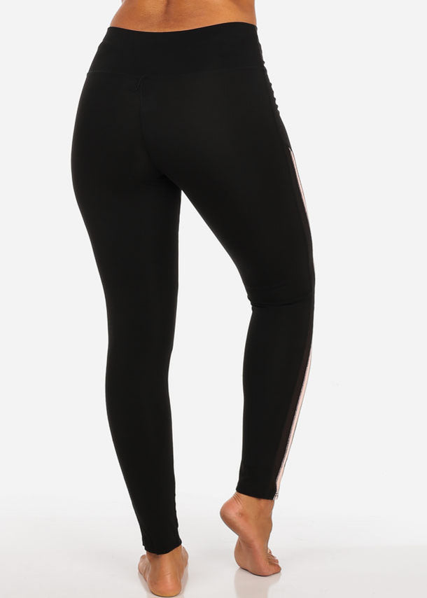 Activewear Sheer Mesh Detail High Rise Black Leggings W Pink Stripe
