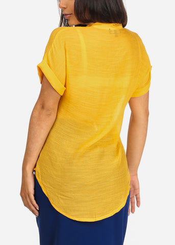 Image of Women's Junior Ladies Stylish Casual Lightweight Flowy See Through Button Up Light Orange Blouse Top