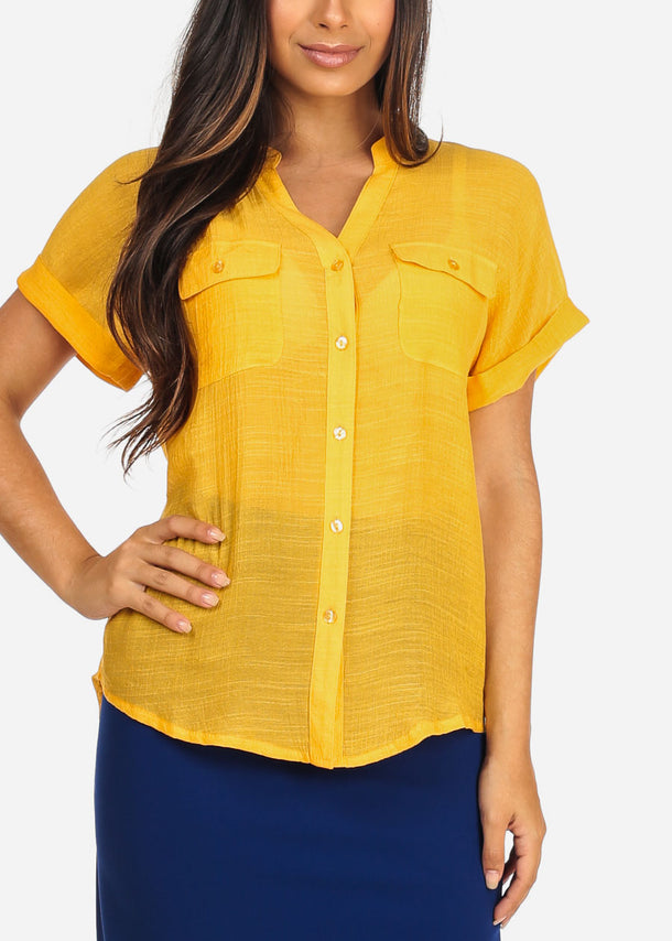 c344a45cd32be2 Women s Junior Ladies Stylish Casual Lightweight Flowy See Through Button  Up Light Orange Blouse ...