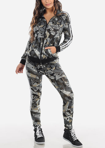 Printed Print Jacket And Pants (2 PCE SET)