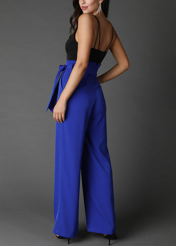 Colorblock Paperbag Blue & Black Jumpsuit