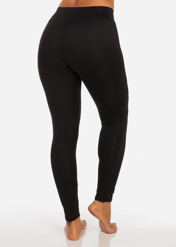 Image of One Size Activewear Cut Out Design High Waisted Black Leggings