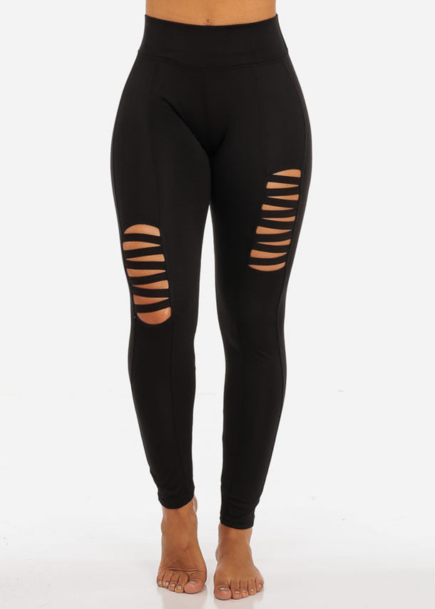 One Size Activewear Cut Out Design High Waisted Black Leggings