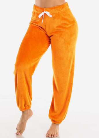 Orange Plush Pajama Pants