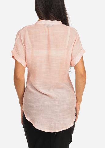 Women's Junior Ladies Stylish Casual Lightweight Flowy See Through Button Up Light Pink Blouse Top