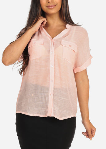Image of Women's Junior Ladies Stylish Casual Lightweight Flowy See Through Button Up Light Pink Blouse Top