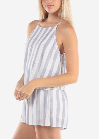 Image of Women's Junior Ladies Going Out Cute Casual Trendy Halter Neckline Open Back White And Navy Stripe Lightweight Romper