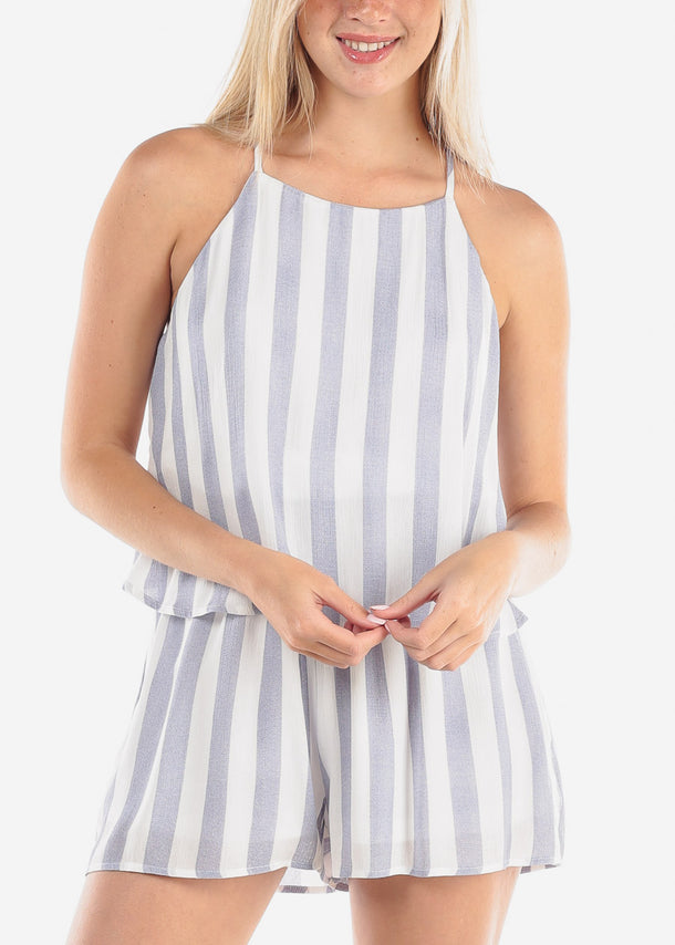 Women's Junior Ladies Going Out Cute Casual Trendy Halter Neckline Open Back White And Navy Stripe Lightweight Romper