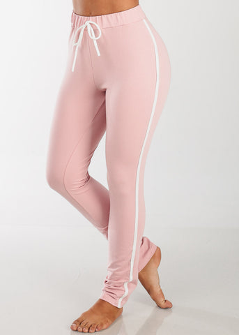High Rise Elastic Stripe Pants (Rose)