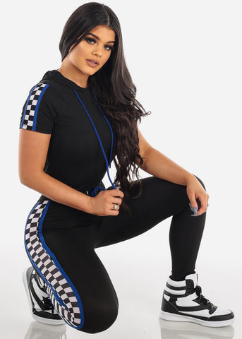 Sexy Short Sleeve Sporty Look Black And Blue Sport Suit Tracksuit Trouser Two Piece Set For Women Ladies Junior