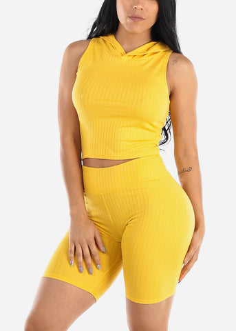 Image of Ribbed Yellow Top & Bermuda Shorts (2 PCE SET)