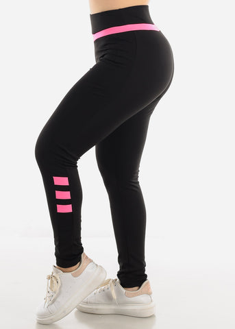 Black & Fuchsia Activewear Leggings