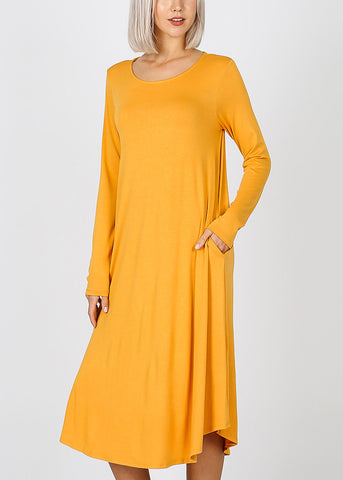Mustard Long Sleeve Pocket Dress