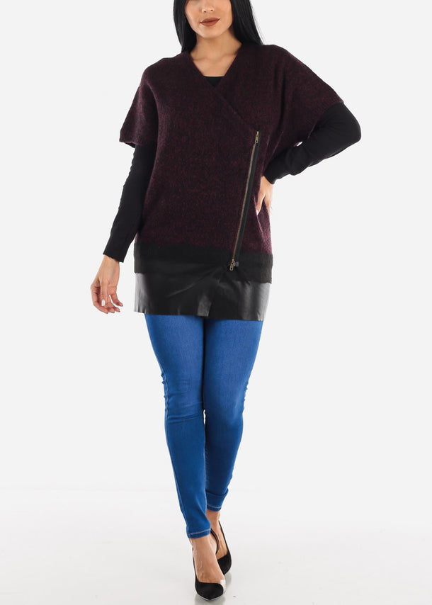 Burgundy Zip Up Poncho Sweater