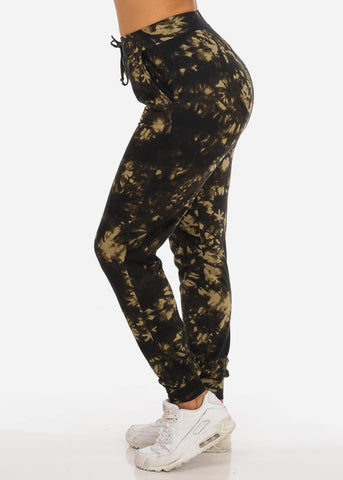 Image of Casual Tie Dye High Waisted Work Out Stretchy Jogging Olive Jogger Pants