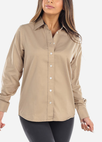 Image of Khaki Teflon Button Down Shirt