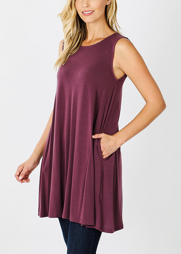 Egg Plant Sleeveless Tunic Top W Pockets