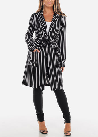 Stylish Long Sleeve Open Front Black Stripe Long Blazer W Tie Belt