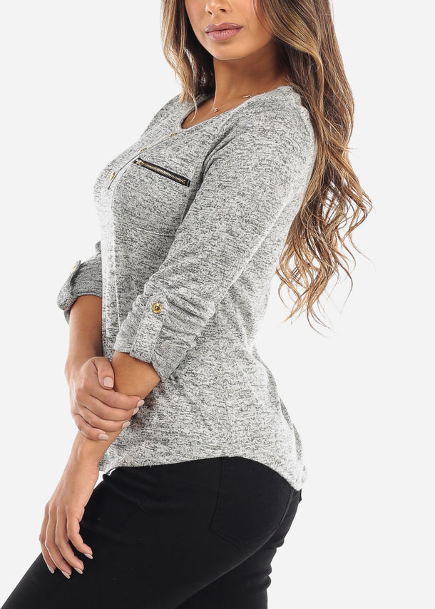 Grey Front Pocket Top