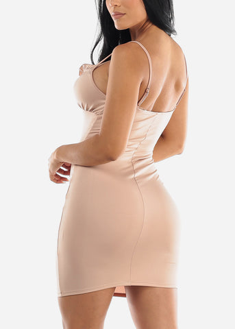 Image of Sleeveless Nude Bodycon Dress