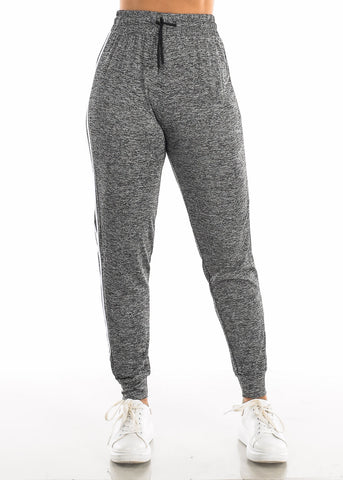 Drawstring Heather Charcoal Jogger Pants