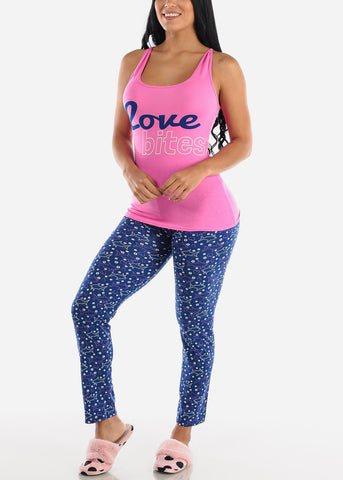 "Pink Cami & Pants ""Love Bites"" (2 PCE PJ SET)"