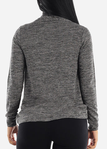 Long Sleeve Heather Charcoal Cardigan