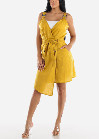 Image of Sleeveless Mustard Overall Dress