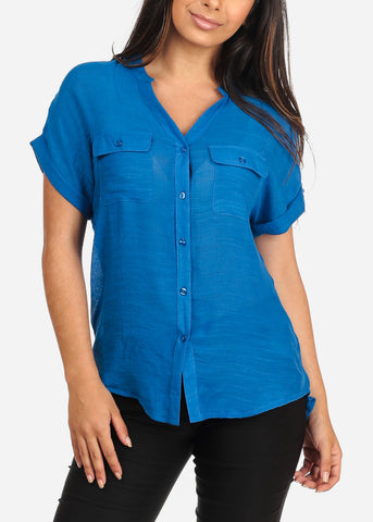 Women's Junior Ladies Stylish Casual Lightweight Flowy See Through Button Up Royal Blue Blouse Top