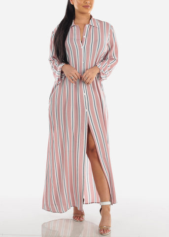 Image of Stylish Lightweight Mauve Stripe Loose Fit Button Up Maxi Cardigan For Women Ladies Junior